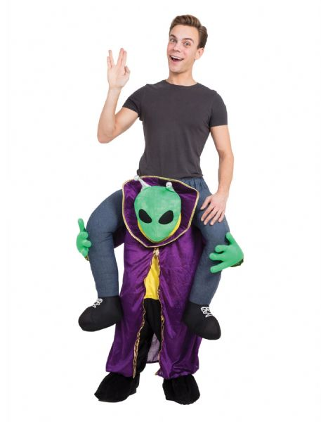 Adults Alien Piggy Back Costume UFO Space Villian Fancy Dress Outfit